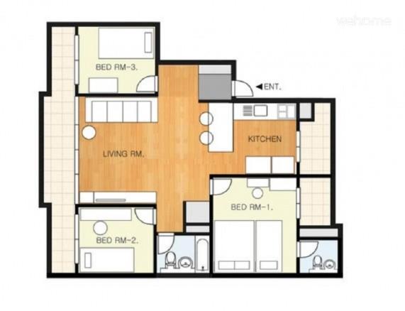 (독채사용) 용산 한강변의 방 3개 아파트 - 평면도
