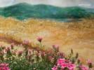 마당 담벽쪽에 그려진 마음을 편하게 해주는 자연친화적인 벽화