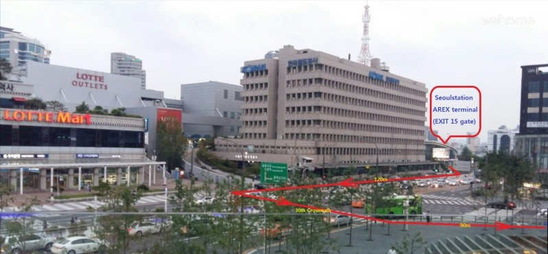서울역(3번,15번)출구>롯데마트>서울로(SEOULLO)입구