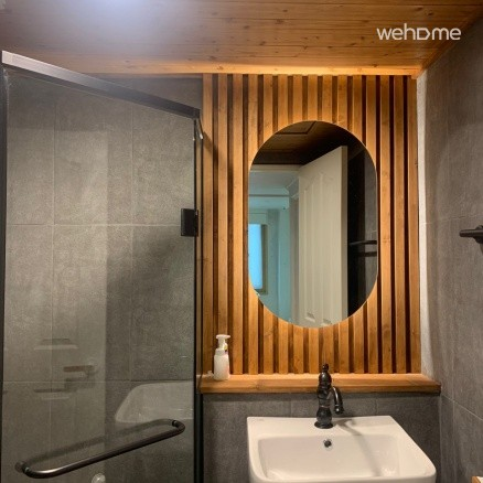 Toilet-Newly renovated!-wooden decoration above the washbasin