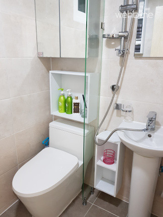 Bathroom with new toilet and amenities