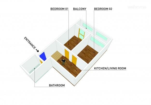 아늑공간 입체 평면도(면적 약 11평:침실2,주방,욕실,베란다)